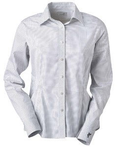 Ashworth 7162C Ladies EZ-Tech Check Pattern Woven-Long Sleeve Shirts-Large-Black ()