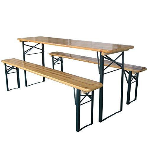 Marko Outdoor Wooden Folding Beer Table Bench Garden Furniture Set Steel Trestle Legs