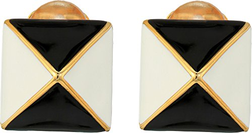 Kenneth Jay Lane Black Ring - Kenneth Jay Lane Women's Pyramid Earrings Black/White One Size