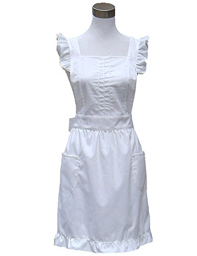 Hyzrz Retro Fancy Cute Cotton Frilly Kitchen White Apron Flirty Baking Cooking Aprons for Womens with Pockets Vintage (White) -