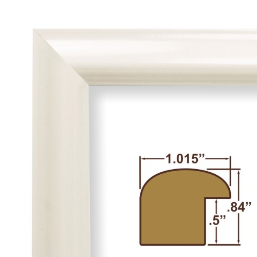 """23x35 Poster Frame, Smooth Finish, 1"""" Wide, Shiny White, .093"""" Acrylic, Foamcore (FW177WH)"""