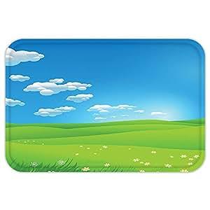 kisscase Custom puerta matlandscape Cartoon paisaje cloudvalley hillgrassunbeamflowerartprint imagen azul, blanco y verde