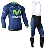 2014 Outdoor Sports Pro Team Men's Long Sleeve Movistar Cycling Jersey and Bib
