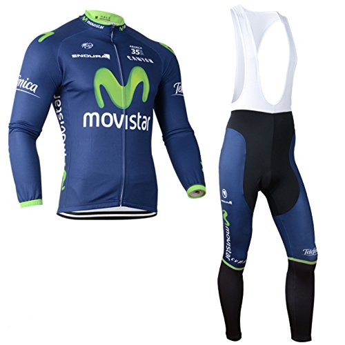 2014 Outdoor Sports Pro Team Men's Long Sleeve Movistar Cycling Jersey and Bib Pants Set (Jersey Cycling Set compare prices)