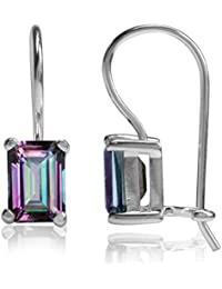 2.52ct. Mystic Fire Topaz 925 Sterling Silver Hook Closure Earrings