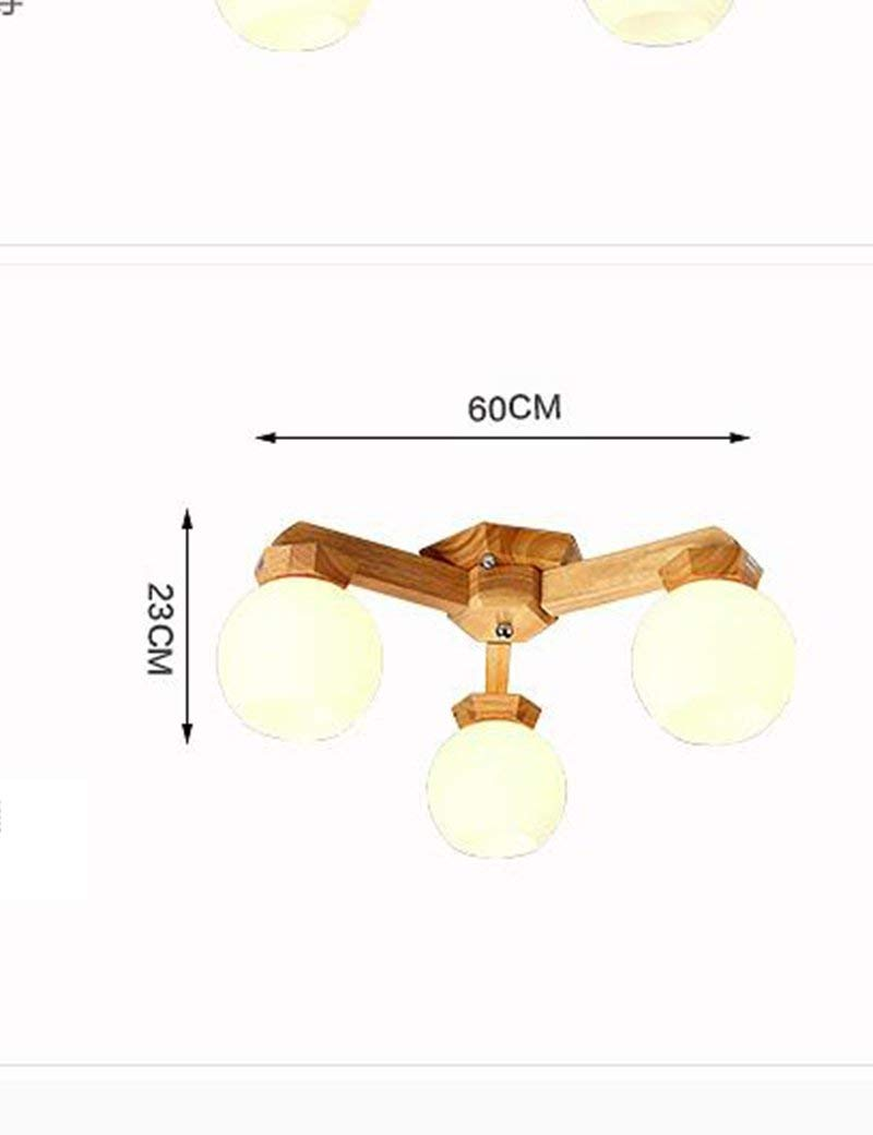 YANG Ceiling Light-American Style Solid Wood Creative Personality Living Room Restaurant Warm Bedrooms Energy Saving,60cm
