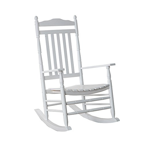 (B&Z KD-22W Wooden Rocking chair Porch Rocker White Outdoor Traditional Indoor)
