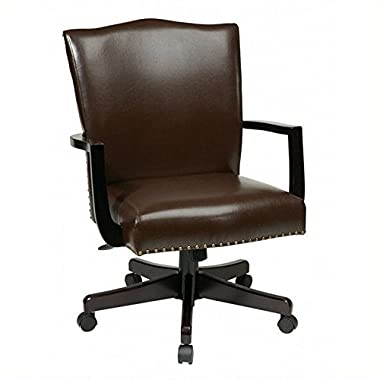 Office Star Morgan Managers Chair with Thick Padded Bonded Leather Seat and Back with Steel Reinforced Wood Base and Dual Wheel Carpet Casters, Espresso