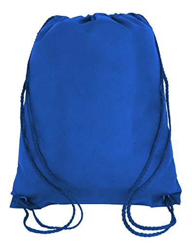 50 PACK - Economical Non Woven Well Made Drawstring Backpack Bags Bulk - Giveaway Church, School, Event, Trade show bags Charity Cheap Donation Wholesale Drawstring Backpacks Sack Packs (Royal) ()