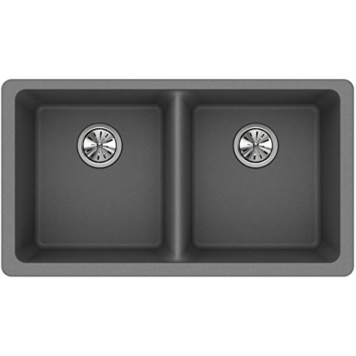 Elkay Quartz Classic ELGU3322GS0 Greystone Equal Double Bowl Undermount Sink (Elkay Kitchen Sinks Undermount)