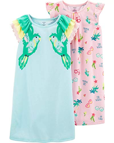 Carter's Girls' 2 Pk Gown Poly 36422310 (12-14, Turquoise/Pink Tropical) ()