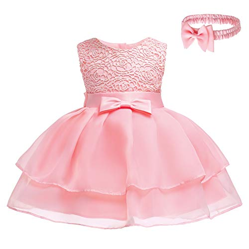 Toddler Baby Girls Embroidered Christing Pageant Birthday Party Baptismal Dress with -