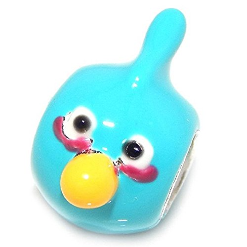 Pro Jewelry 925 Solid Sterling Silver Blue Angry Bird Charm Bead