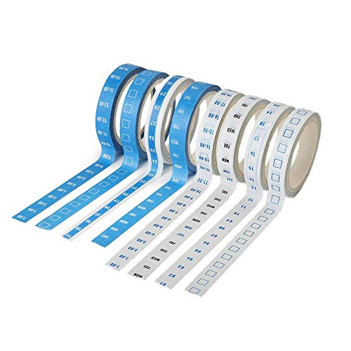 Chris.W 8 Rolls Journal Washi Tapes Month Week Daytime Todo Masking Adhesive Tape Stickers for Time Management Planner(4 Roll Blue and 4 Roll White)