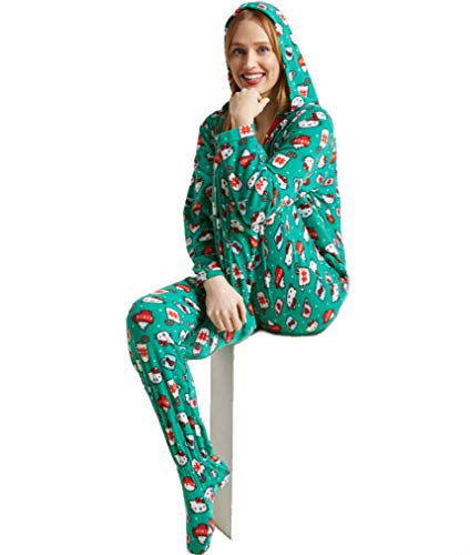 Hello Kitty Women's Christmas Cheer Fleece Footie Hooded Plus Size PJ (2X) -