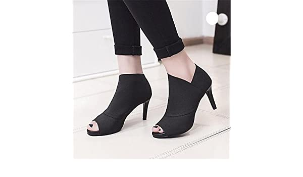 ac9e85c7 Señoras Sandalias de las mujeres botas invierno Mary Jane sintética Casual  Cuña Talón de plumas, negro: Amazon.es: Deportes y aire libre