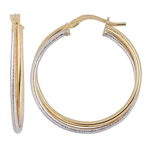 - Kooljewelry 10k Two-tone Gold Overlapping Hoop Earrings