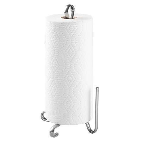 mDesign Modern Metal Vertical Paper Towel Holder Stand and Dispenser, Fits Standard and Jumbo-Sized Rolls for Kitchen Countertop, Pantry, Laundry/Utility Room, Garage Storage - Silver