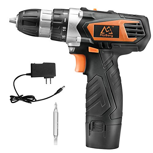 Cordless Drill, Power Drill Driver 12V with 1×1.5Ah Batteries, Charger 1.3A, 18+1 Torque Setting, 2-Variable Speed Max Torque 200 In-lbs, 3/8″ Keyless Chuck