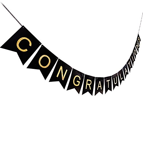 CONGRATULATIONS CONGRATS Banner Swallowtail, Shimmering Gold Letters & Black Background, Classy Luxurious Decorations for Party by AHAYA