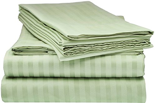ITALIAN Collection STRIPED 4PC QUEEN Sheet Set, Sage Green ()
