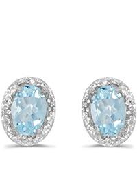 14K White Gold Oval Aquamarine and Diamond Earrings (3/4ct TGW)