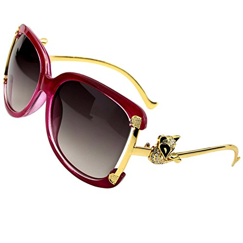 Sumery Gold Fox Alloy Frame Sunglasses Women Glasses UV400 (Wine Frame,Grey - Bans Prescribed Ray