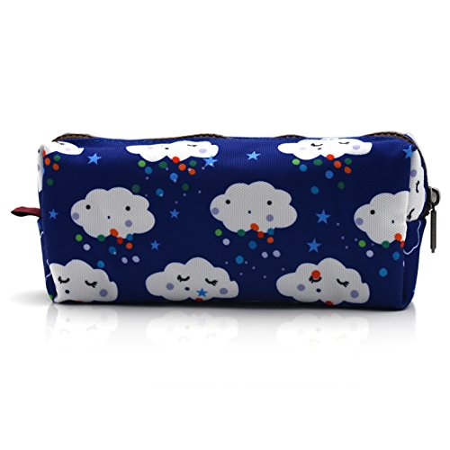 LParkin Kawaii Clouds Students Super Large Capacity Canvas Pencil Case Pen Bag Pouch Stationary Case Makeup Cosmetic Bag (Blue)