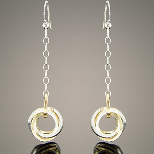 Mixed Metal Ring (Mixed Metal Square Knot 2 Inch Long Dangle Earrings in Sterling Silver and Yellow Gold Fill)