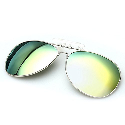 E Support™ Men/Women Polarized UV400 Lens Clip-on Flip-up Myopia SunGlasses Mirrored Outdoor Driving Fishing - Clip On Aviators