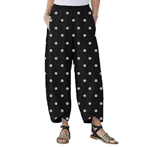 (Plus Size Casual Lantern Long Pants Women Split Dot Print Loose Beach Trousers Black)