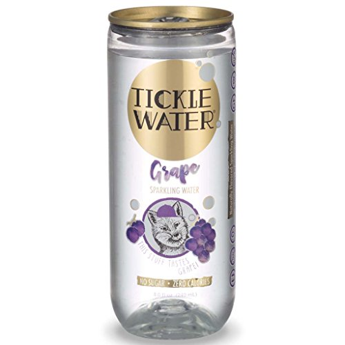 Tickle Water Sparkling Water, Grape Flavor (8 0z. Can, 12-Pack). Carbonated Club Soda for Kids, All-Natural Seltzer Water, Sugar-Free, Non-GMO, Zero-Calorie, Kosher and Vegan Fizzy Drink