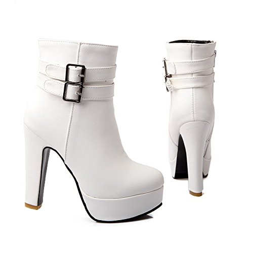 Womens High M 5 PU PU White US Solid AmoonyFashion Heels Chunky Material and Soft Boots Heels B with Platform 5dqwnpfx