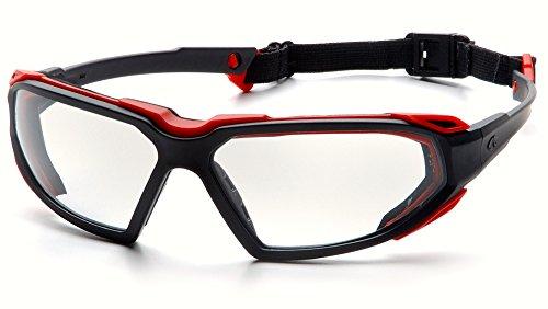 Pyramex Highlander Safety Eyewear, Black-Red Frame/Clear Anti-Fog - Lens Scratches Fix Glasses