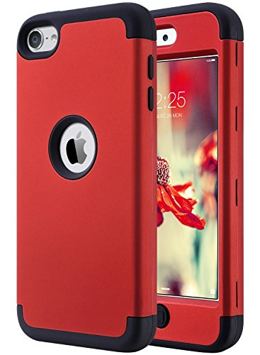 iPod 6 Case,iPod Touch 6 Case,ULAK Heavy Duty High Impact KNOX ARMOR Case Cover Protective Case for Apple iPod touch 5 6th Generation,(Red+Black)