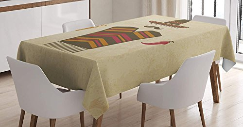 CHARMHOME Mustache Cotton Linen Tablecloth, Dining Room Kitchen Rectangular Table Cover 60(W) X120(L) inchInch, Authentic Mexican Conceptual Elements of Tequila with Lime Poncho and Chili Pepper