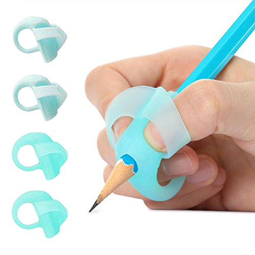 Pencil Grips, Yuccer 4 PCS Silicone Ergonomic Writing AIDS for Kids Triangle Finger Grips for Pencils (Blue)