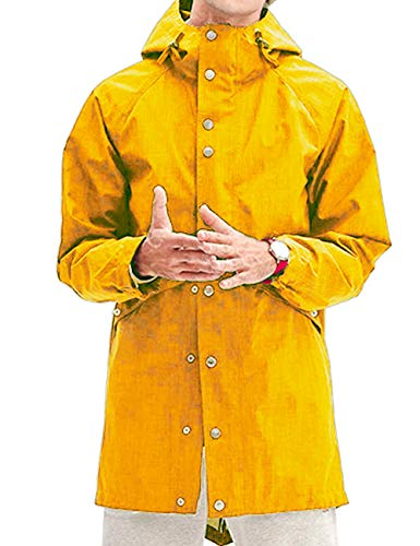 Men Athletic Raincoat Water Resistant Rain Outfit Jacket Windbreaker Yellow L