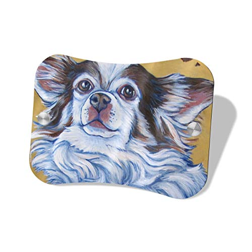 (Scarlett Life Hall White Long Hair Chihuahua Art Painting MDF Door Sign Decorates Welcome Sauna Mailbox Sign Office Family Individual Store Bedroom Toilet Boys Girls Men Women)