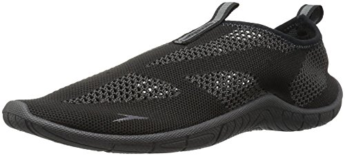 Speedo Men's Surf Knit Athletic Water Shoe, Black/Dark Gull Grey, 7 C/D US