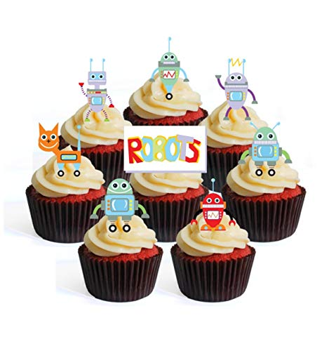 Robots Theme Edible Cupcake Toppers - Stand Up Wafer Cake Decorations (Pack of 12)