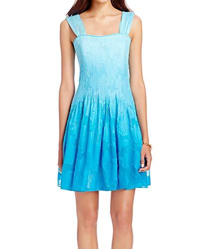 DVF Diane von Furstenberg Dress Lesly Ombre Pleated Chiffon Sz 14 - Dress Von Furstenberg Diane Long