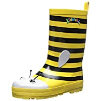 Kidorable Yellow Bee Natural Rubber Rain Boots With A Pull On Heel Tab
