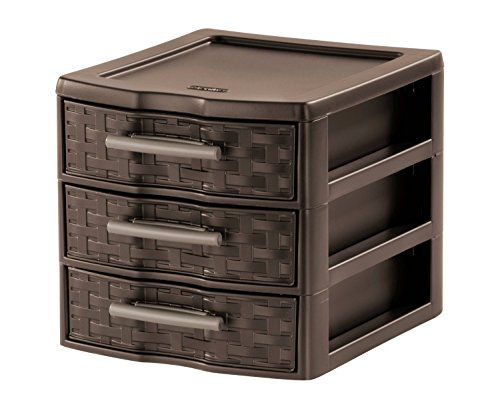 Sterilite Small Weave 3 Drawer Unit - Espresso - Set of 6