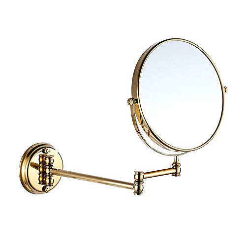 7Trees 8-Inch Retro Bathroom Folding Wall Mount Make-Up Mirror Flip Telescopic Beauty Mirror Gold