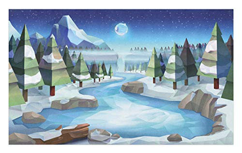 Ambesonne Northwoods Doormat, Fantastic Winterland Illustration with Low Poly Style River Mountains and Forest, Decorative Polyester Floor Mat with Non-Skid Backing, 30 W X 18 L Inches, Multicolor -
