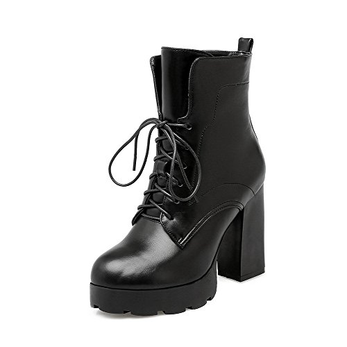 Allhqfashion Women's Solid High-Heels Round Closed Toe PU Lace-up Boots Black pRzL7