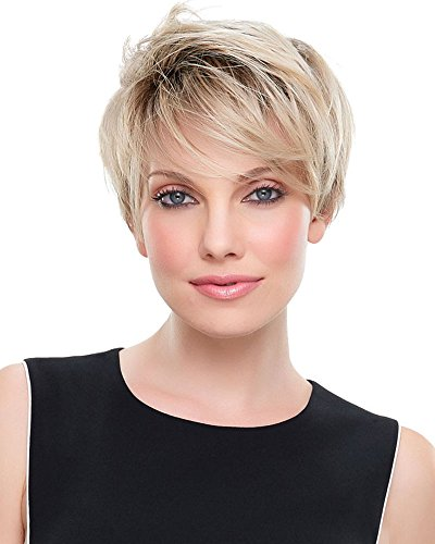 Short Blonde Wigs for White Women Pixie Wig Black Rooted Bob Hair Wigs with Bangs Natural Synthetic Full Wigs for Women Lady Costume Party Wig YM008]()
