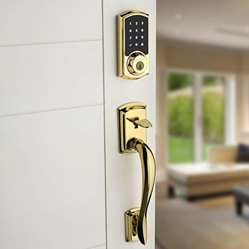 Kwikset 99160-007 SmartCode ZigBee Touchscreen Smart Lock works with Echo Plus & Alexa, featuring SmartKey, Lifetime Polished Brass by Kwikset (Image #5)