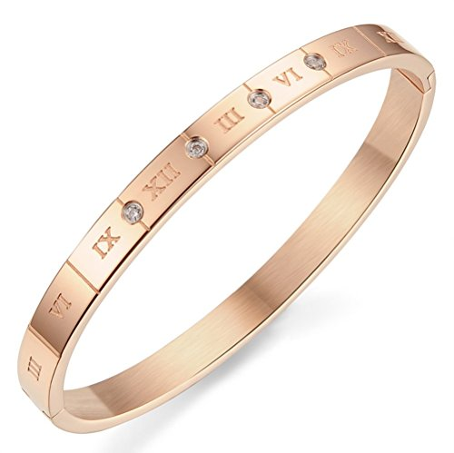 Gorgeous Jewelry Rose Gold Plated Titanium Steel Lovers Roman Numerals Wrap Bracelet with White Zircon